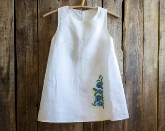 Linen Embroidered Dress, Flower Girl, Rustic Wedding, White Linen, Round Neck, Country Dress, Handmade Flowers Embroidery