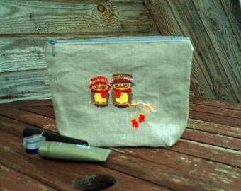 Natural Linen with Embroidery Make Up Bag, Zipper Pouch, Cosmetic Bag, Handmade, Linen, Women, Organize