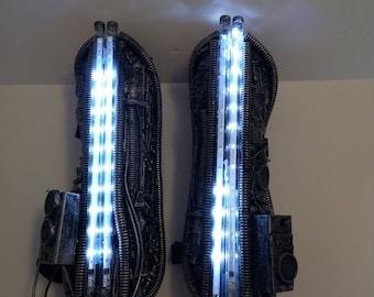 LED strobing lights cosplay cyberpunk cyborg costume arm.