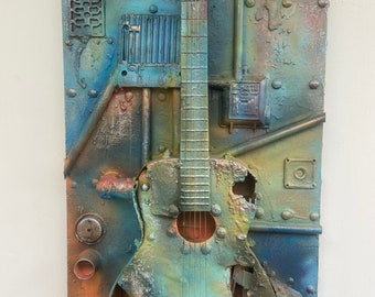 Industrial decay guitar sculpture