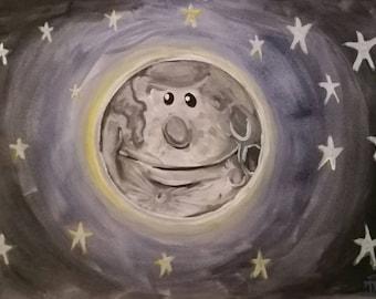 Happy moon original watercolour