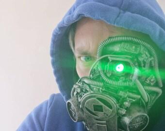 Cyberpunk gang resporator mask with bionic eye Cosplay piece