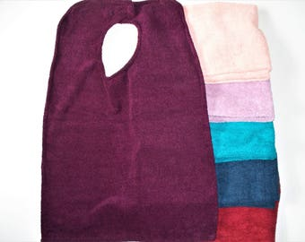 Large Adult Bib Made With Quick Dry Terry Cloth,Adult Clothing Protector,Your Choice of Peach,Purple,Red,Blue,Purple or Teal,Absorbent