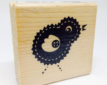 Easter Chick Rubber Stamp, Wood Block Stamp, Whimsical, 1 1/2 inches Gift Tags, Spring