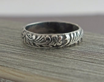 Wedding Band, Vintage Wedding Band, Sterling Silver Stacking Ring, Floral Wedding Ring, Vintage Style Ring, Womens Wedding Ring
