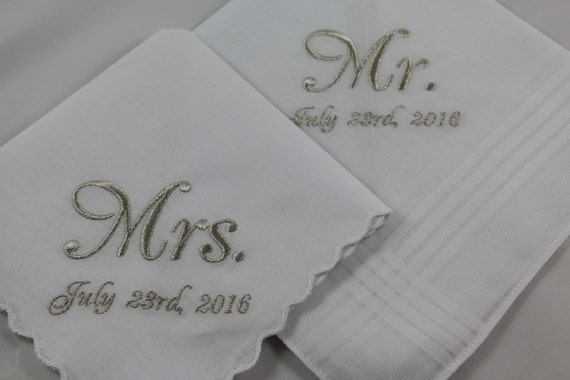 embroidered handkerchiefs wedding ideas image set of embroidered handkerchiefs wedding gift mr mrs etsy
