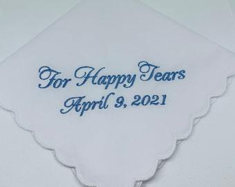 Wedding Handkerchief -For Happy Tears - Embroidered -  Simply Sweet Hankies