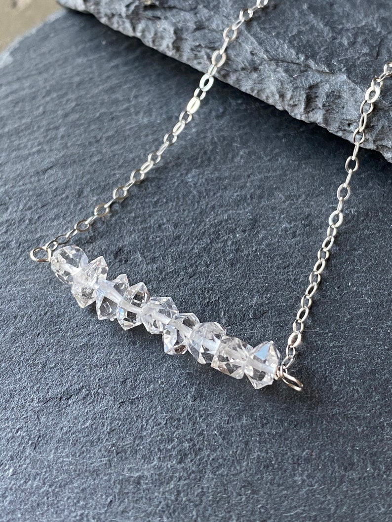 Sterling Silver Herkimer Diamond Quartz Bar Necklace