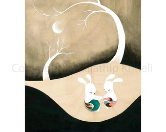 Magic Moments Under the Moon - art print featuring rabbits