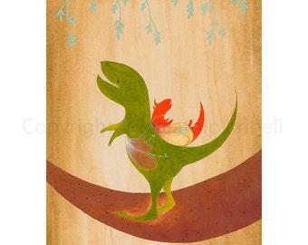 Starting a Journey - art print featuring dinosaurs