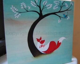 Old Sweet Song - mounted art print featuring a fox & bird