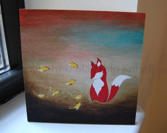 Sharing Good News - mounted art print - fox and birds