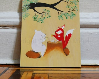 Afternoon Tea - 8x10 mounted art print fox and a pig