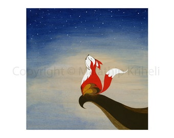Singing With The Stars art print featuring a fox