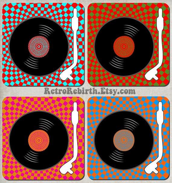 Vinyl Record Turntable Pop Art Drink Coaster Set Dj Music Etsy