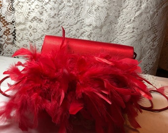 Red Satin Repurposed  Evening Bag