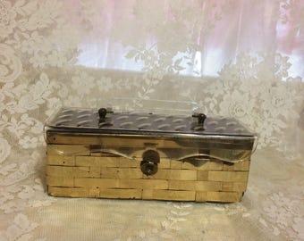 Beautiful Lucite and Brass  Basket Weave Handbag #15