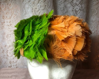 Red, Gold and Green Feather Pillbox Wool Hat