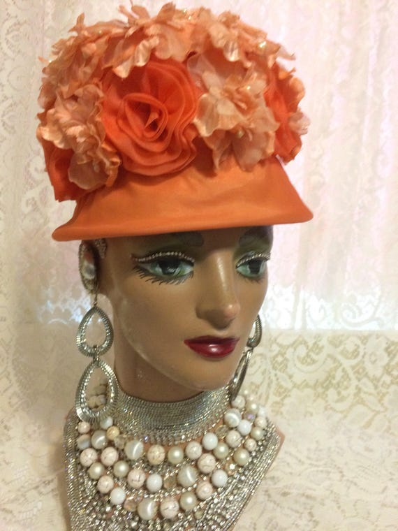 b3490d818ae Stunning Orange Floral Hat With Flowere and Pearls