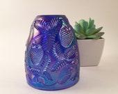 Fenton BLUE Iridescent Carnival Glass Fairy Lamp Top Only Rare Candleholder votive tea light