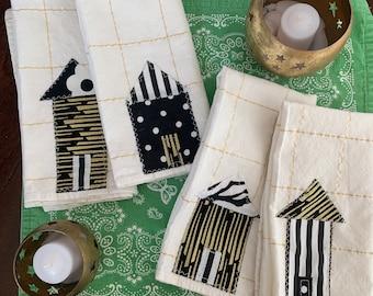 Black, White & Gold Little House napkin set