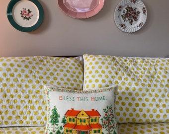 Decorative vintage tea towel pillow