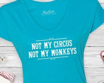 Not My Circus, Not My Monkeys Ladies' Triblend V-Neck T-Shirt - T-shirt - Polish proverb, not my problem, snarky, office, women's v-neck