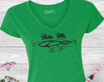 Bite Me Ladies Fishing V-Neck T-Shirt- Womens Fishing Shirt, Lake Shirt, Cabin Shirt, women's v-neck