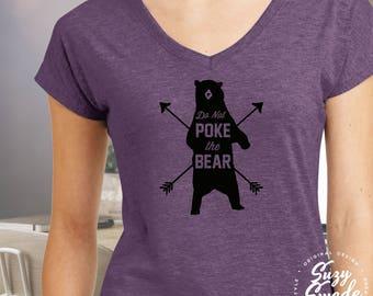 Do Not Poke the Bear Ladies' Triblend V-Neck T-Shirt- Adventure, camping, outdoors, bear, arrows, travel, wander, women's v-neck