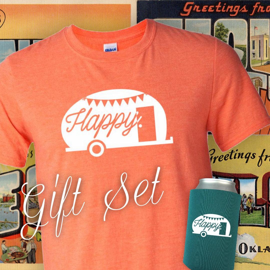 75752ba3 Happy Camper T-shirt & Coolie Gift Set - Adventure, camping, glamping,  vintage camper, trailer, Christmas gift set
