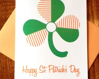 SALE - Mod Shamrock Happy St. Patrick's Day Card on 100% Recycled Paper