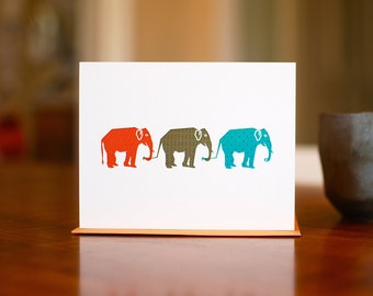 Elephant Parade Card in Orange, Brown & Teal (100% Recycled Paper)