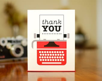 Just My Type - Retro Typewriter Thank You Cards - Set of 10 on 100% Recycled Paper