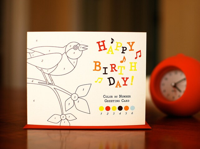 Color By Number Birthday Card Variety Pack 6 Cards On 100 Recycled Paper