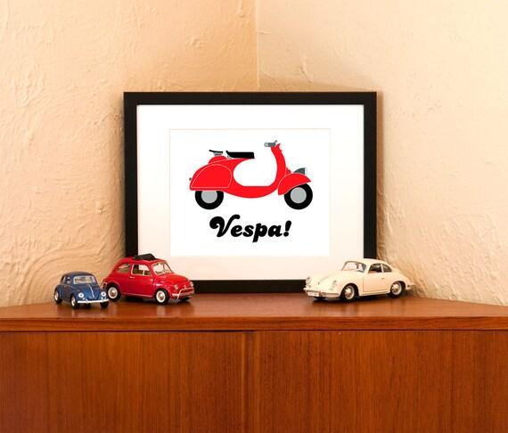 alte rote vespa kunstdruck auf 100 recycling papier etsy. Black Bedroom Furniture Sets. Home Design Ideas