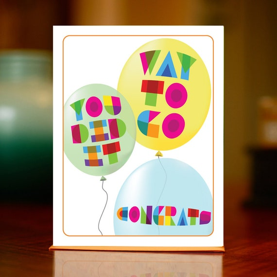 Way to Go You Did It You Rock Balloons Congratulations Card on 100/% Recycled Paper