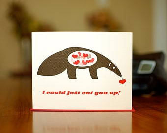 I Could Just Eat You Up - Mod Anteater I Love You Card on 100% Recycled Paper