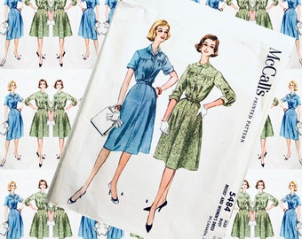 BUST 38 McCALL 5484 shapely dress button bodice 2 sleeve options full skirt 1950s sewing pattern