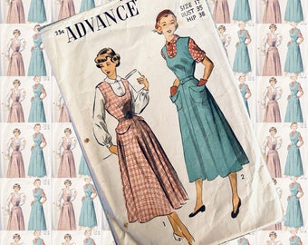 BUST 35 ADVANCE 5266 jumper blouse two sleeve options 1950s sewing pattern RARE