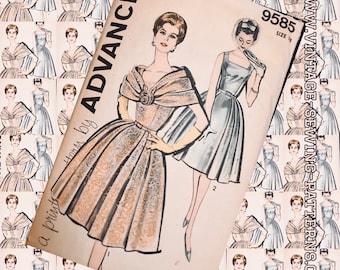 BUST 38 ADVANCE 9585 Fichu soft shoulder drape 6-gore party dress