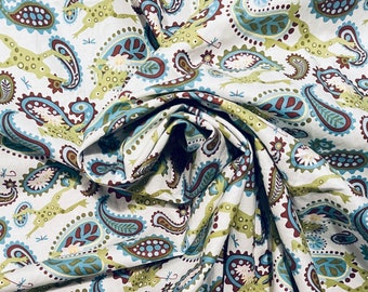 Lily Pond FROGS & Paisley Wendy Slotboom Fabric OOP Rare Quilt Craft  Sew 1.5 yards