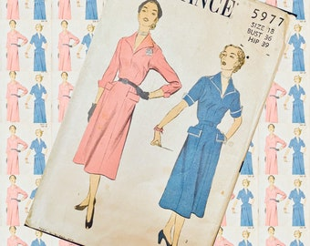 BUST 36 ADVANCE 5977 full bodice two sleeve options 1950s sewing pattern