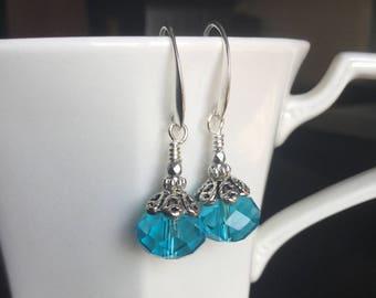 Aqua crystal earrings with silver bead caps and crystals, crystal beaded earrings, aqua bridesmaid earrings, blue wedding jewelry, earrings