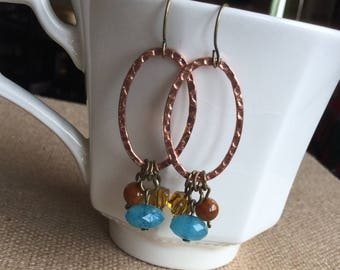 blue and brown beaded earrings on copper hammered rings, handmade beaded earrings, bead and copper earrings, gift for a women,