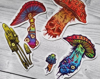 A Couple of Fungis Vinyl Sticker Pack Free Shipping Mushroom Stickers Waterproof Colorful Psychedelic Rainbow Fungi Weird Art