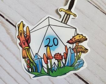 D20 Fantasy Sword Mushroom Crystal Waterproof Vinyl Sticker D&D Dungeons and Dragons Crit Roll Dice Nat 20 Art Manfish Inc.