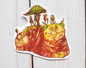 Mushroom Cat Vinyl Sticker Tabby Mycology Shroom Fantasy Quirky Weird Art Psychedelic Mushrooms Kitty Animal Art Manfish Inc. Free Shipping