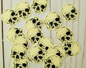 Paper Mini Skull Stickers Spooky Journal Scrapbook Planner Collage Material Halloween Art Horror Anatomy Manfish Inc. Illustration Free Ship