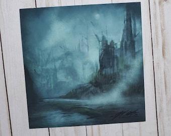 Fantasy Art Print 8x8 Ghost Ruins Landscape Concept Art Castle Manfish Inc. Free Shipping Poster Print Dark Art Dungeons Dragons Magic