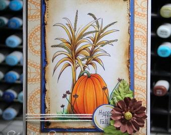 Happy fall Pumpkin and corn stalks